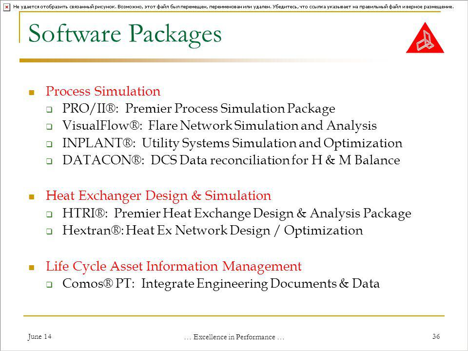 June 14 … Excellence in Performance … 36 Software Packages Process Simulation PRO/II®: Premier Process Simulation Package VisualFlow®: Flare Network Simulation and Analysis INPLANT®: Utility Systems Simulation and Optimization DATACON®: DCS Data reconciliation for H & M Balance Heat Exchanger Design & Simulation HTRI®: Premier Heat Exchange Design & Analysis Package Hextran®: Heat Ex Network Design / Optimization Life Cycle Asset Information Management Comos® PT: Integrate Engineering Documents & Data
