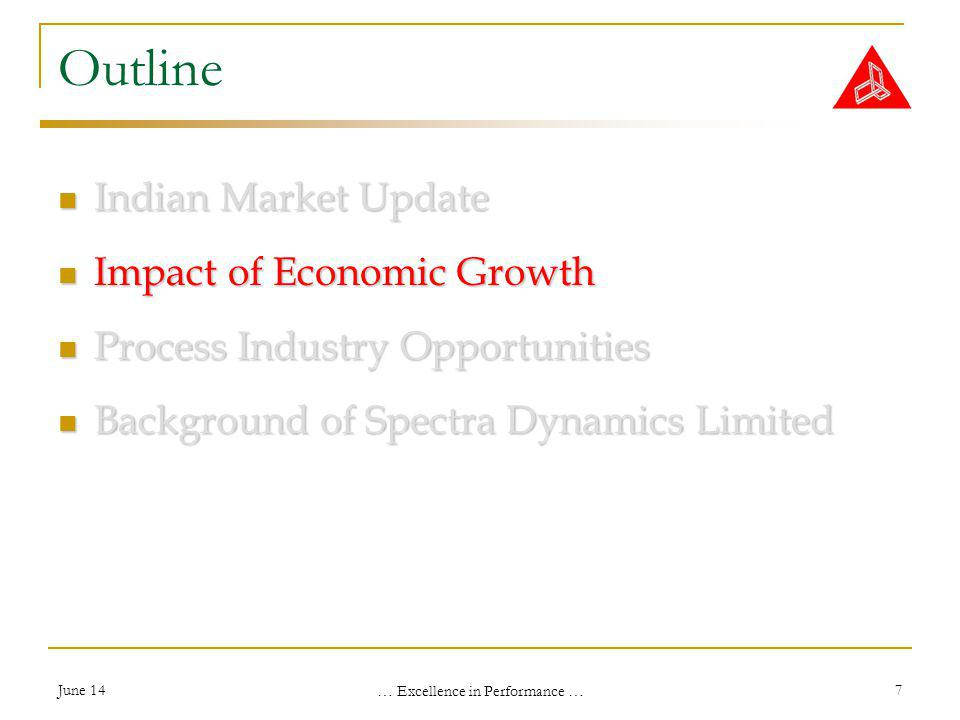 June 14 … Excellence in Performance … 7 Outline Indian Market Update Indian Market Update Impact of Economic Growth Impact of Economic Growth Process Industry Opportunities Process Industry Opportunities Background of Spectra Dynamics Limited Background of Spectra Dynamics Limited