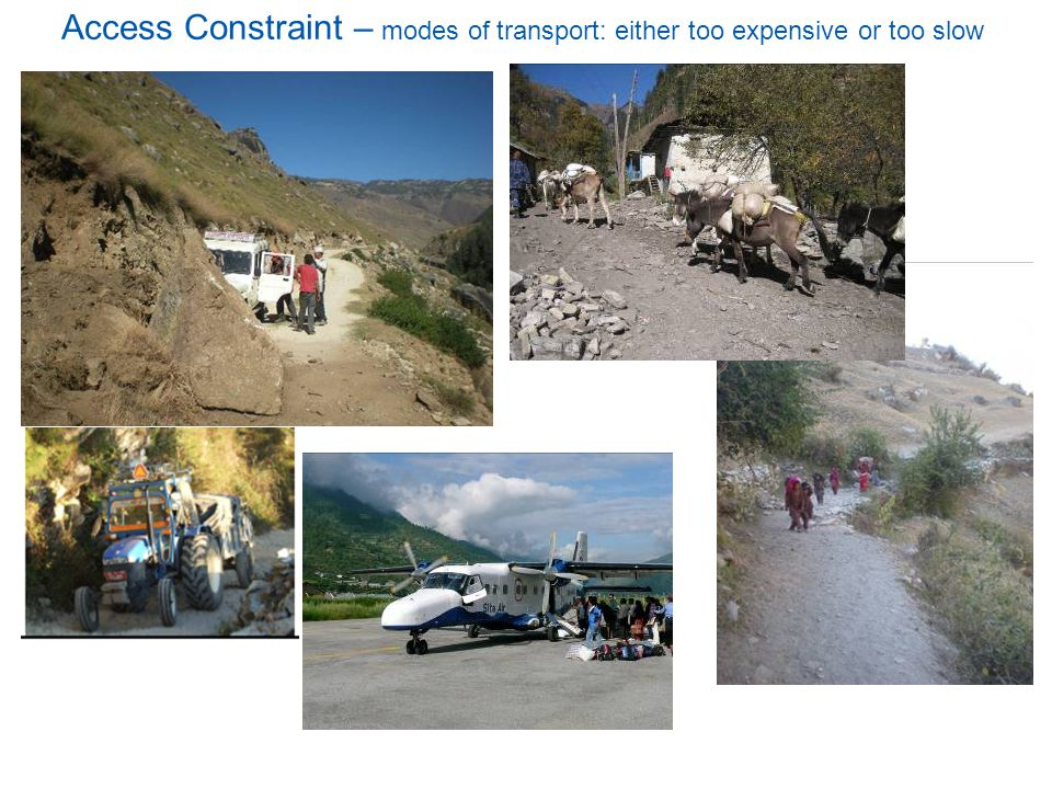13 Access Constraint – modes of transport: either too expensive or too slow