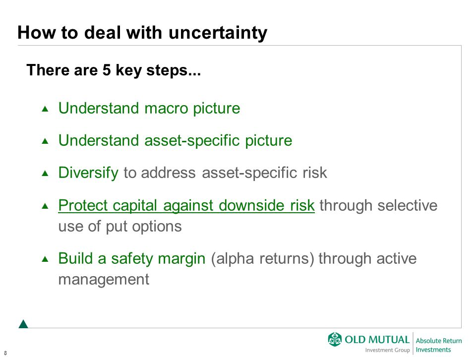 8 Understand macro picture Understand asset-specific picture Diversify to address asset-specific risk Protect capital against downside risk through selective use of put options Build a safety margin (alpha returns) through active management How to deal with uncertainty There are 5 key steps...
