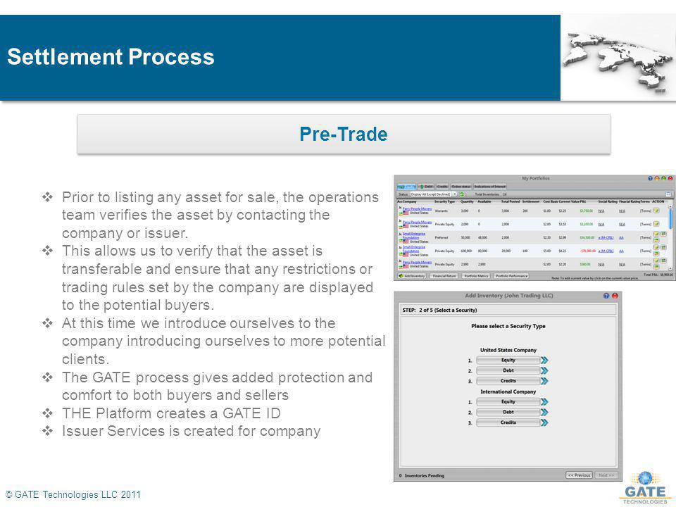 Settlement Process © GATE Technologies LLC 2011 Pre-Trade Prior to listing any asset for sale, the operations team verifies the asset by contacting the company or issuer.