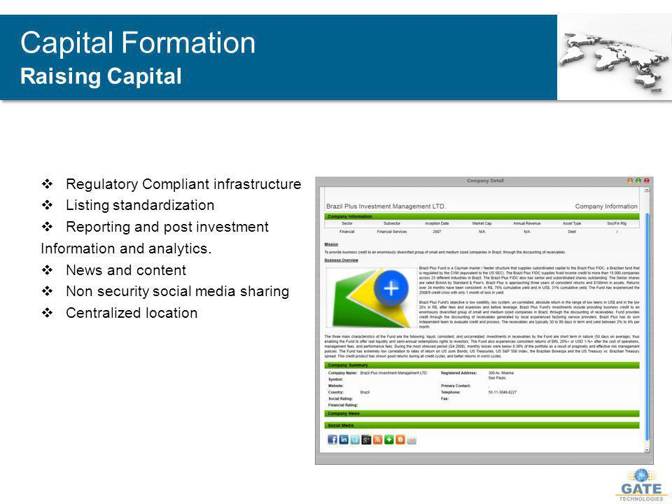 Regulatory Compliant infrastructure Listing standardization Reporting and post investment Information and analytics.