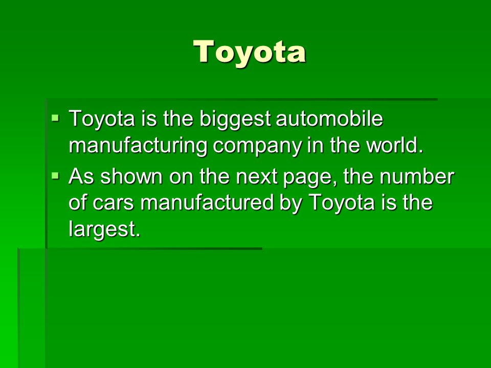 Toyota Toyota is the biggest automobile manufacturing company in the world. Toyota is the biggest automobile manufacturing company in the world. As sh