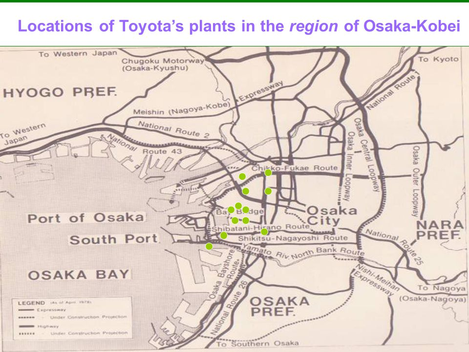 Locations of Toyotas plants in the region of Osaka-Kobei