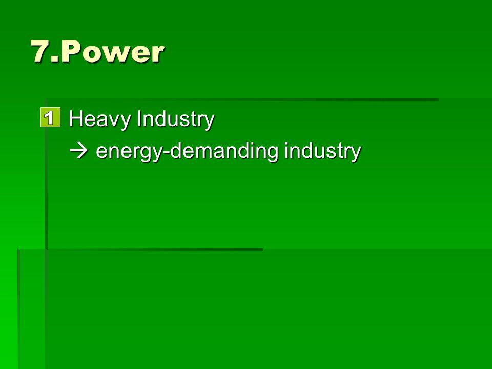 7.Power Heavy Industry Heavy Industry energy-demanding industry energy-demanding industry