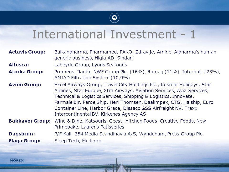 International Investment - 1 Actavis Group:Balkanpharma, Pharmamed, FAKO, Zdravlje, Amide, Alpharmas human generic business, Higia AD, Sindan Alfesca:Labeyrie Group, Lyons Seafoods Atorka Group:Promens, Ilanta, NWF Group Plc.