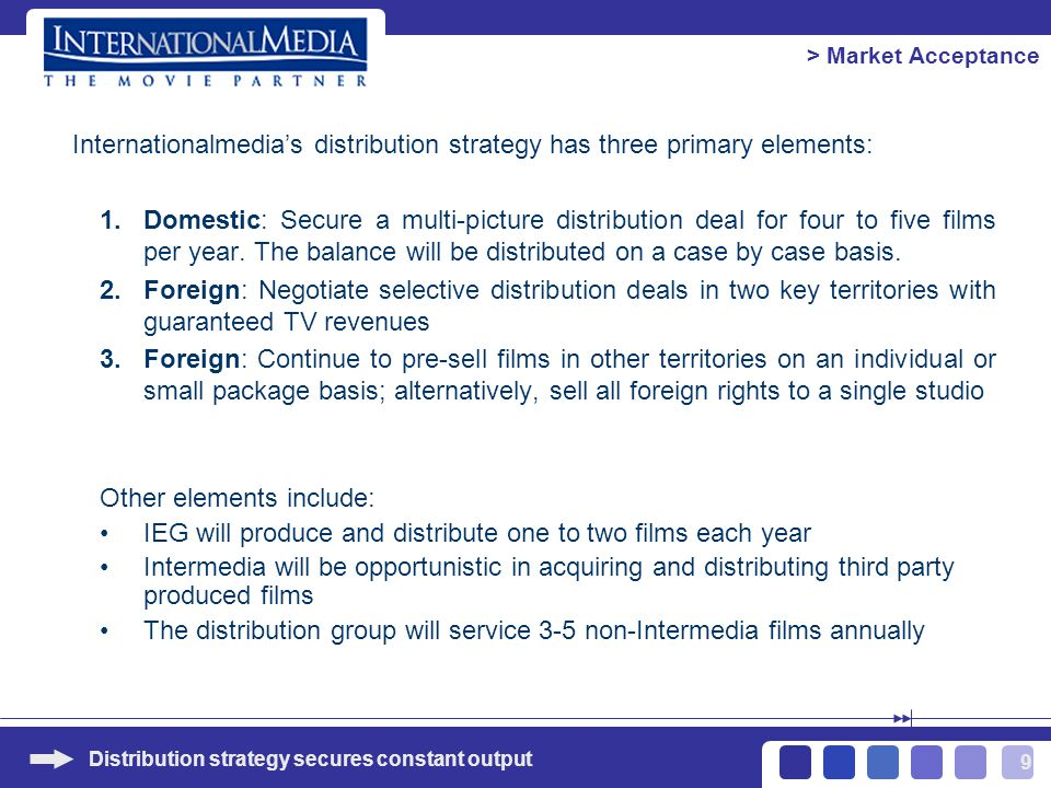 9 Internationalmedias distribution strategy has three primary elements: 1.Domestic: Secure a multi-picture distribution deal for four to five films per year.