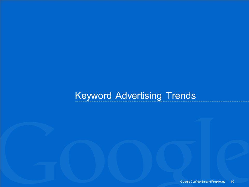 Google Confidential and Proprietary Keyword Advertising Trends 10