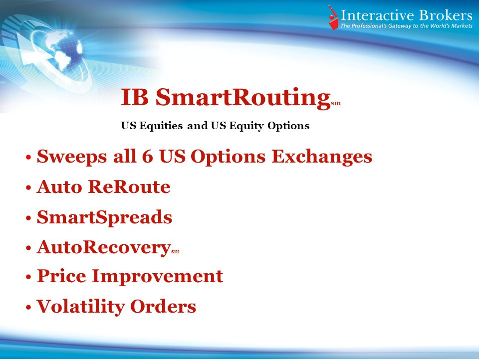 IB SmartRouting sm US Equities and US Equity Options Sweeps all 6 US Options Exchanges Auto ReRoute SmartSpreads AutoRecovery sm Price Improvement Vol