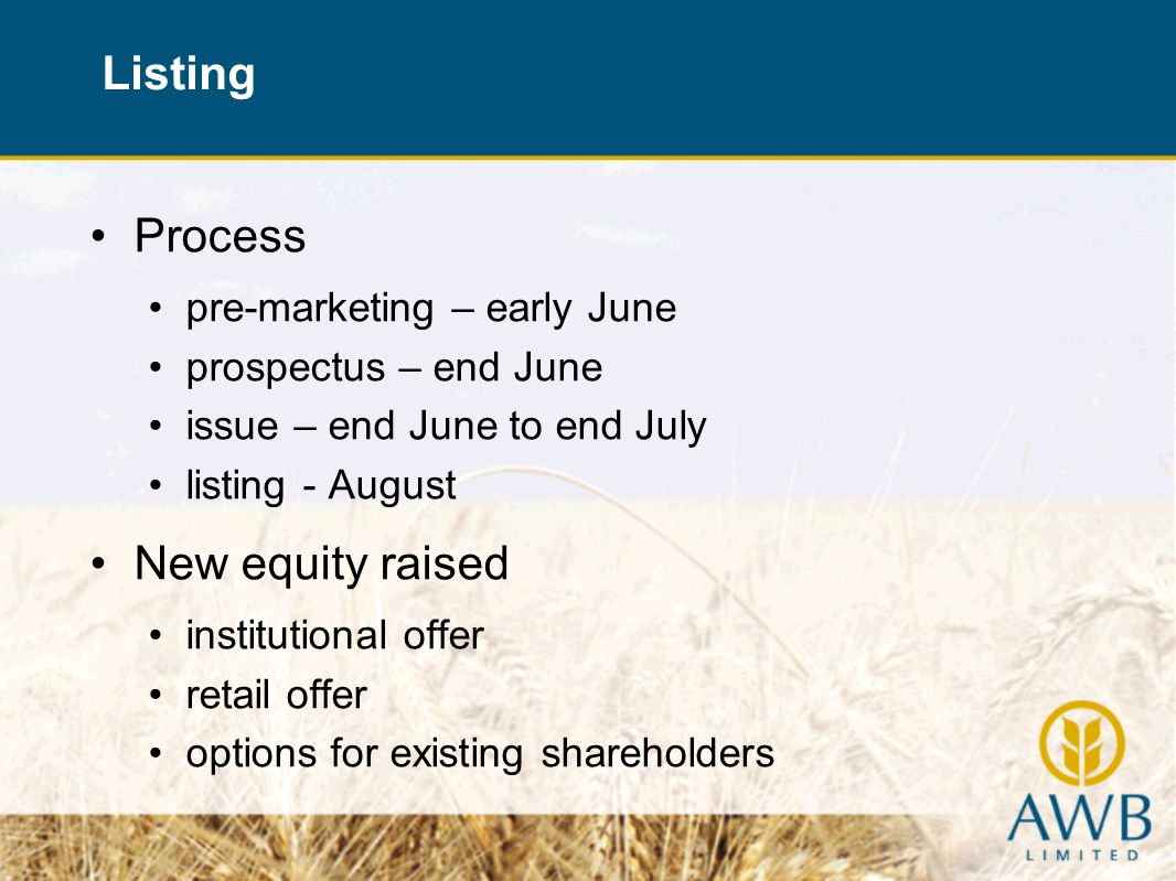 Process pre-marketing – early June prospectus – end June issue – end June to end July listing - August New equity raised institutional offer retail offer options for existing shareholders Listing