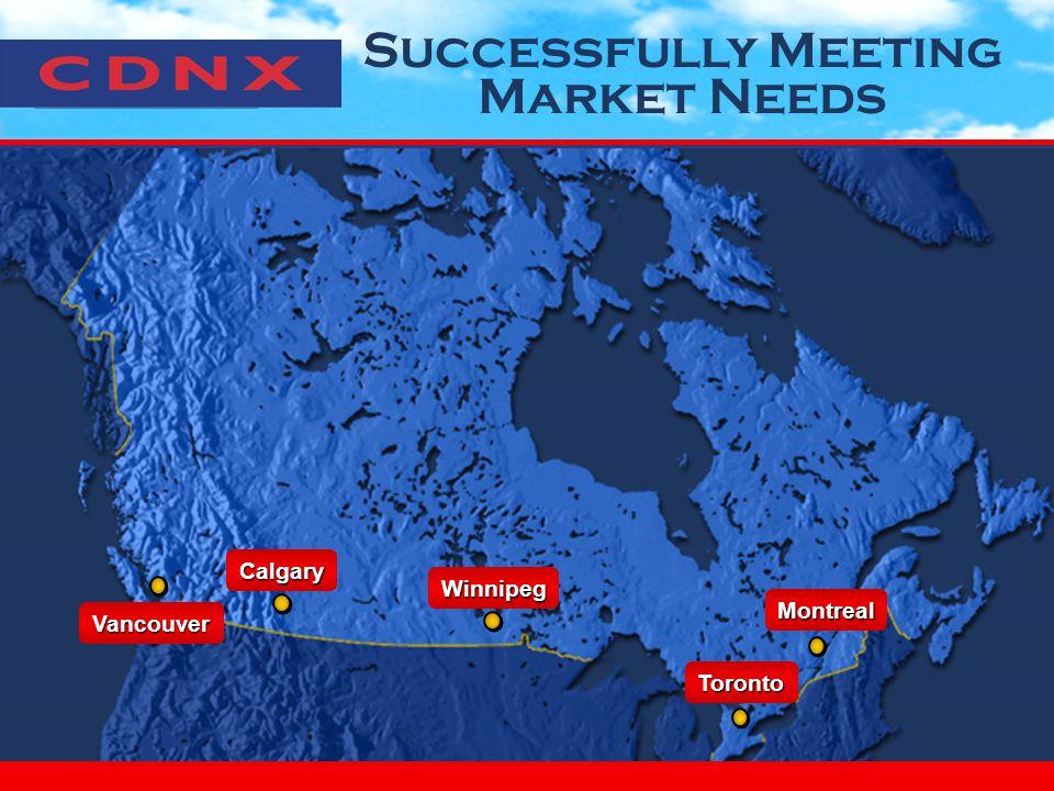 Successfully Meeting Market NeedsVancouver Calgary Winnipeg Toronto Montreal