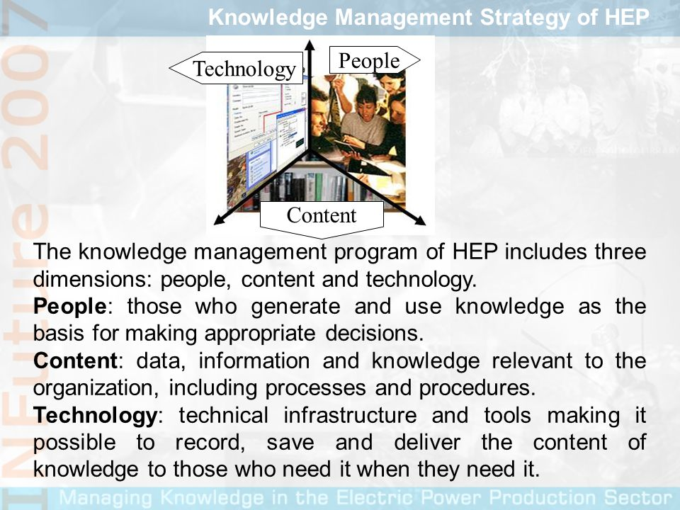 The knowledge management program of HEP includes three dimensions: people, content and technology.