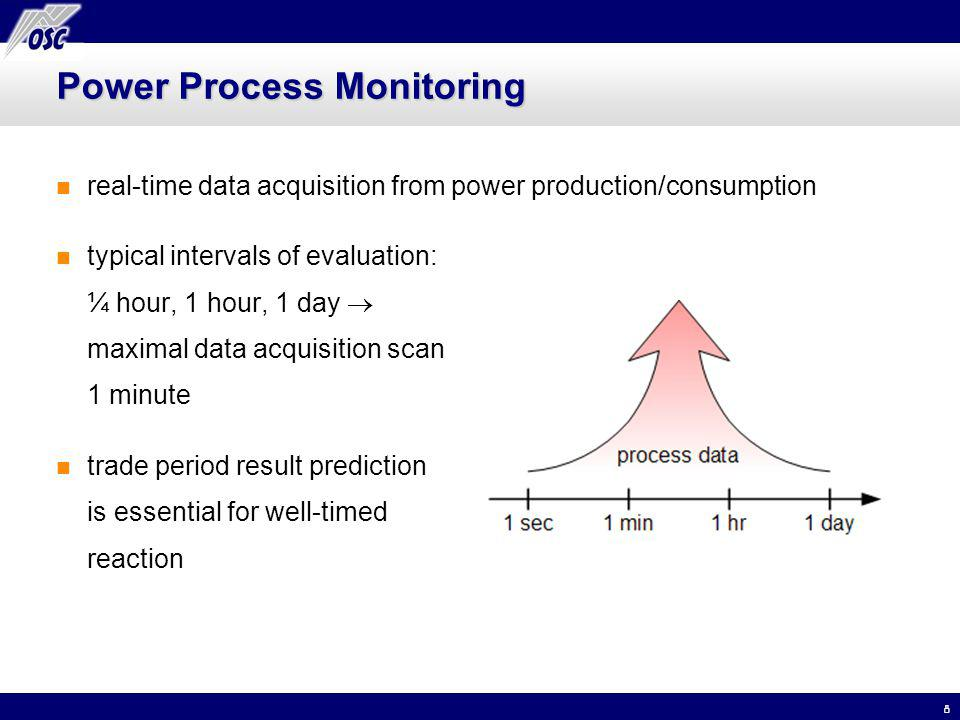 8 Power Process Monitoring real-time data acquisition from power production/consumption typical intervals of evaluation: ¼ hour, 1 hour, 1 day maximal data acquisition scan 1 minute trade period result prediction is essential for well-timed reaction