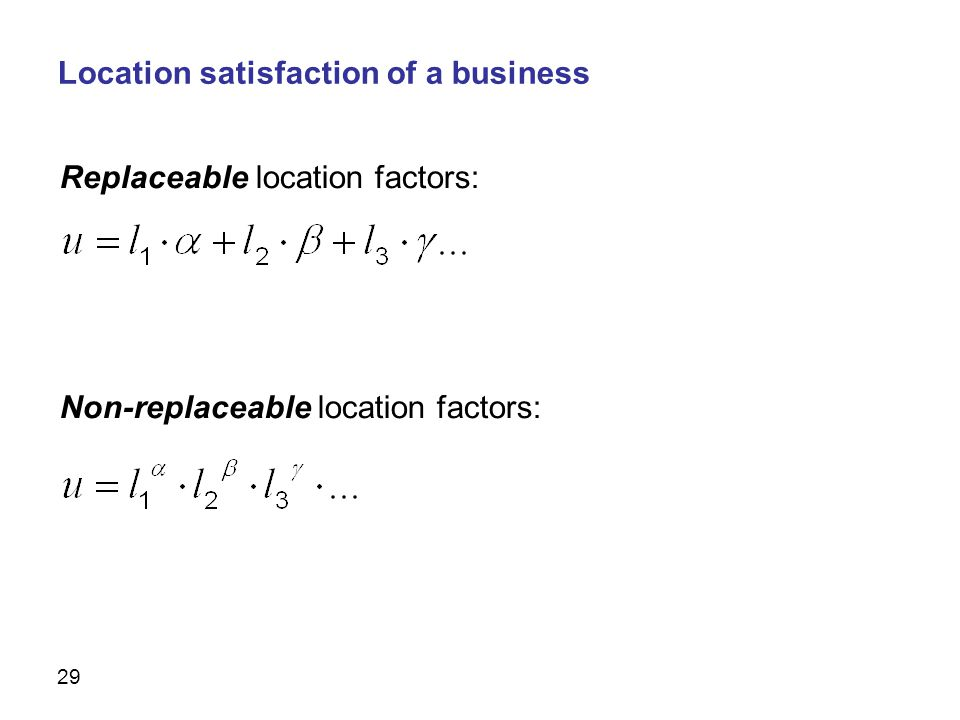 29 Replaceable location factors: Non-replaceable location factors: Simulation Location satisfaction of a business