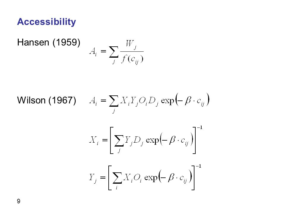 9 Hansen (1959) Wilson (1967) Accessibility
