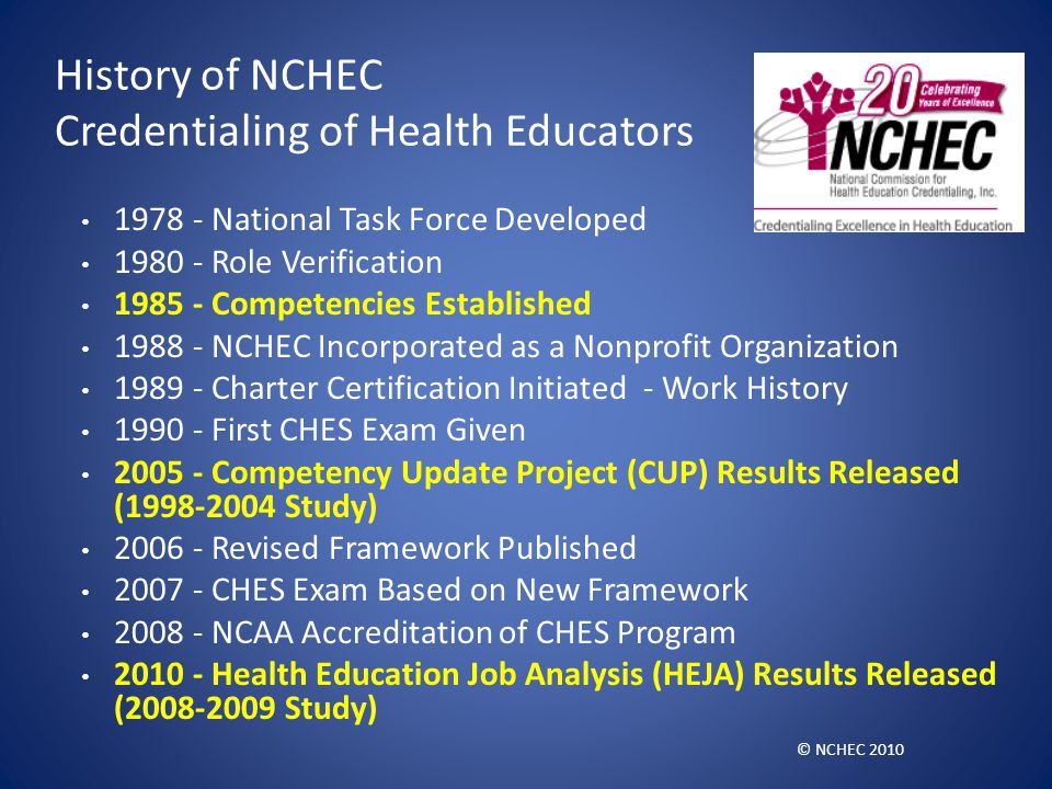 History of NCHEC Credentialing of Health Educators 1978 - National Task Force Developed 1980 - Role Verification 1985 - Competencies Established 1988