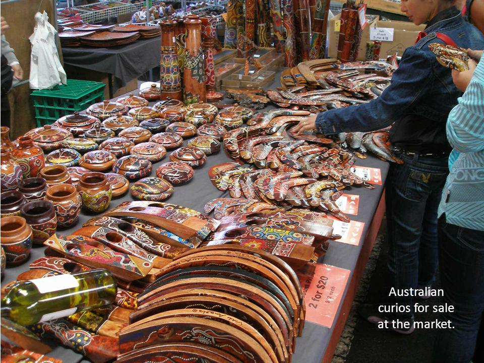 Australian curios for sale at the market.