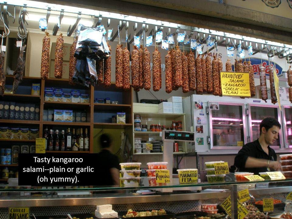 Tasty kangaroo salami--plain or garlic (oh yummy).