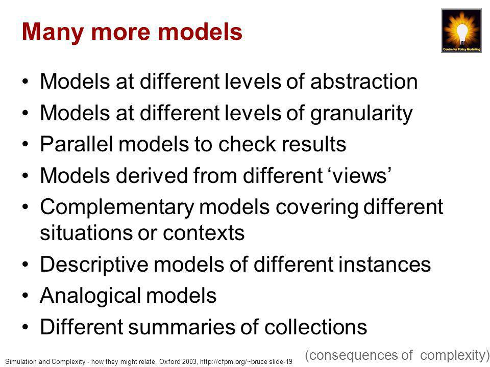 Simulation and Complexity - how they might relate, Oxford 2003, http://cfpm.org/~bruce slide-19 Many more models Models at different levels of abstraction Models at different levels of granularity Parallel models to check results Models derived from different views Complementary models covering different situations or contexts Descriptive models of different instances Analogical models Different summaries of collections (consequences of complexity)
