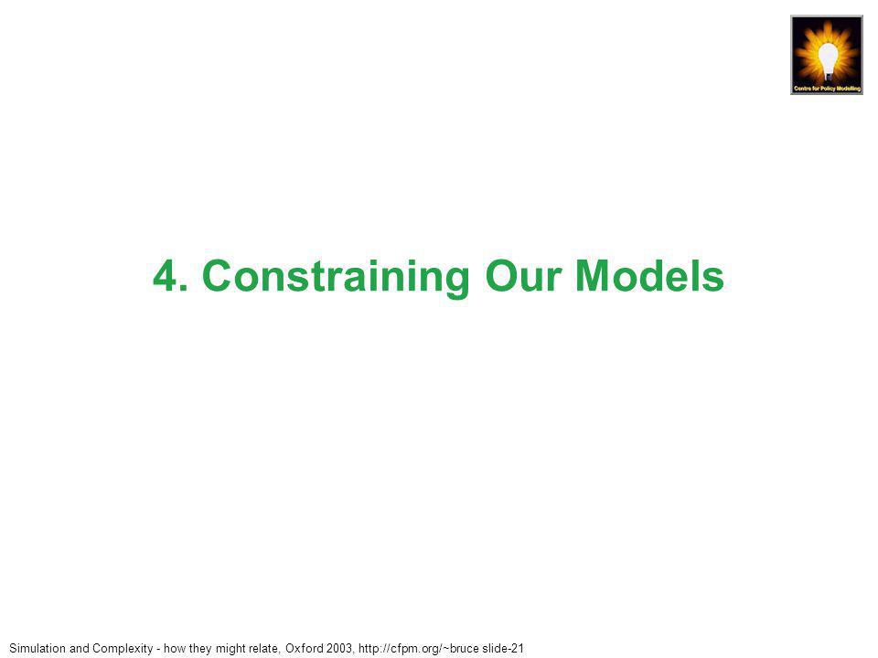 Simulation and Complexity - how they might relate, Oxford 2003, http://cfpm.org/~bruce slide-21 4.