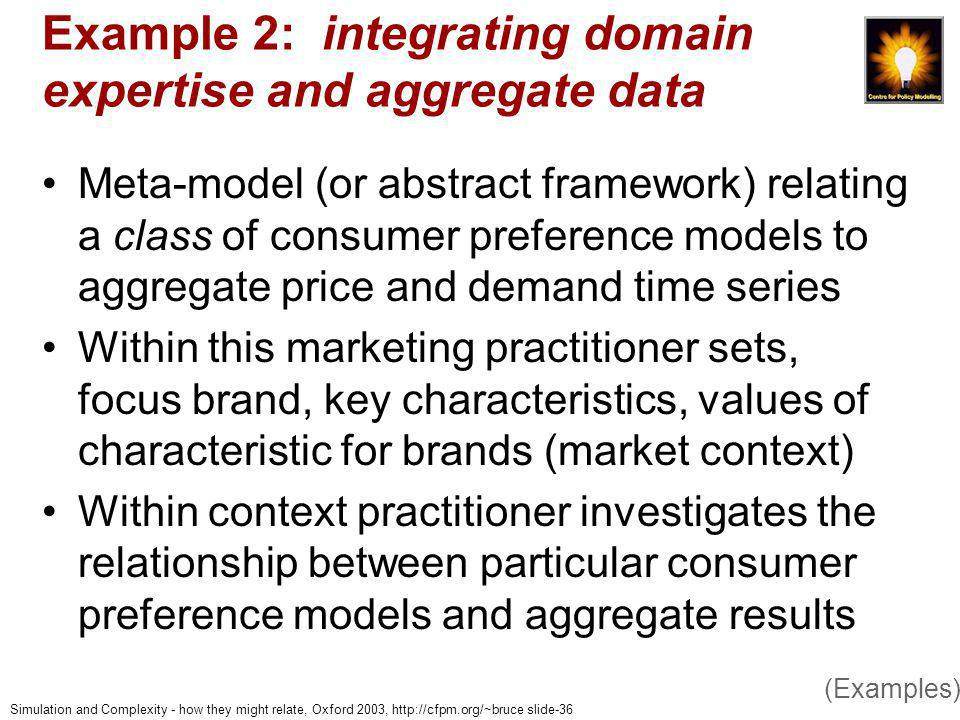 Simulation and Complexity - how they might relate, Oxford 2003, http://cfpm.org/~bruce slide-36 Example 2: integrating domain expertise and aggregate data Meta-model (or abstract framework) relating a class of consumer preference models to aggregate price and demand time series Within this marketing practitioner sets, focus brand, key characteristics, values of characteristic for brands (market context) Within context practitioner investigates the relationship between particular consumer preference models and aggregate results (Examples)