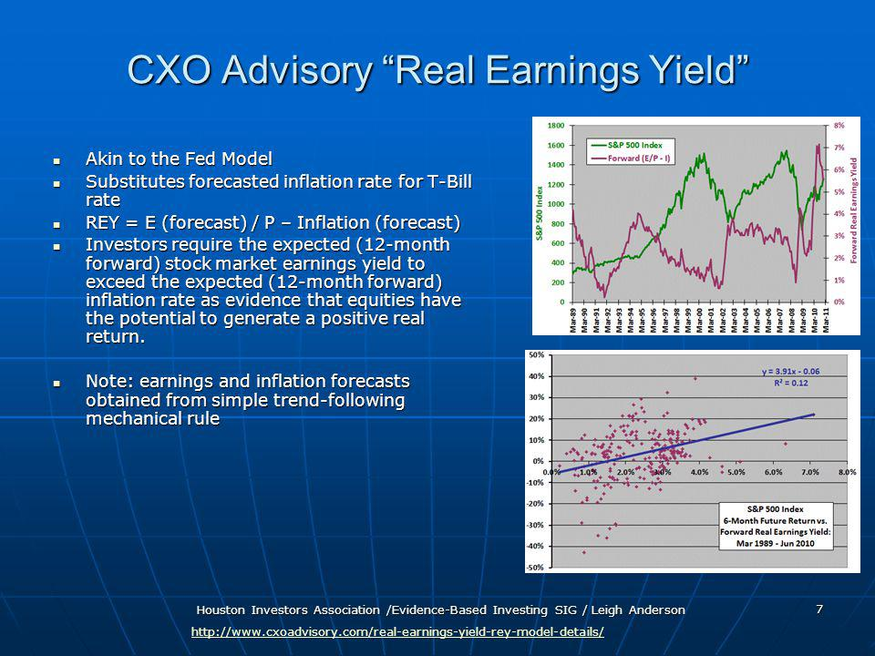 Houston Investors Association /Evidence-Based Investing SIG / Leigh Anderson 7 CXO Advisory Real Earnings Yield Akin to the Fed Model Akin to the Fed Model Substitutes forecasted inflation rate for T-Bill rate Substitutes forecasted inflation rate for T-Bill rate REY = E (forecast) / P – Inflation (forecast) REY = E (forecast) / P – Inflation (forecast) Investors require the expected (12-month forward) stock market earnings yield to exceed the expected (12-month forward) inflation rate as evidence that equities have the potential to generate a positive real return.