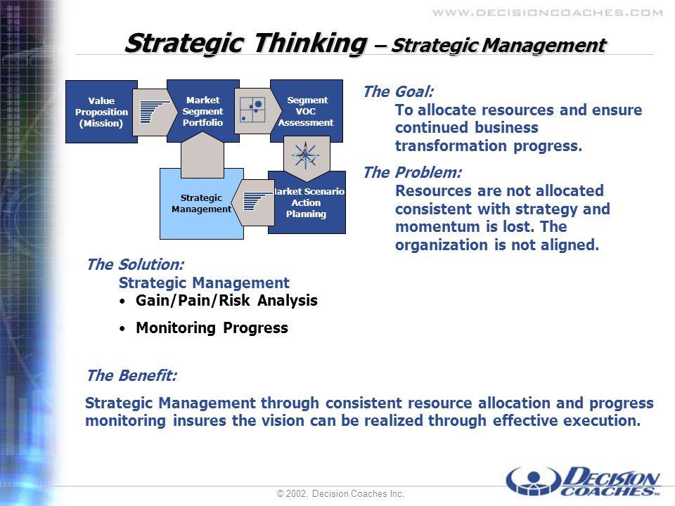 © 2002, Decision Coaches Inc. Strategic Thinking – Strategic Management The Solution: Strategic Management Gain/Pain/Risk Analysis Monitoring Progress