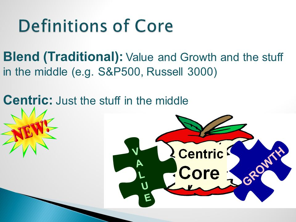 Blend (Traditional): Value and Growth and the stuff in the middle (e.g. S&P500, Russell 3000) Centric: Just the stuff in the middle