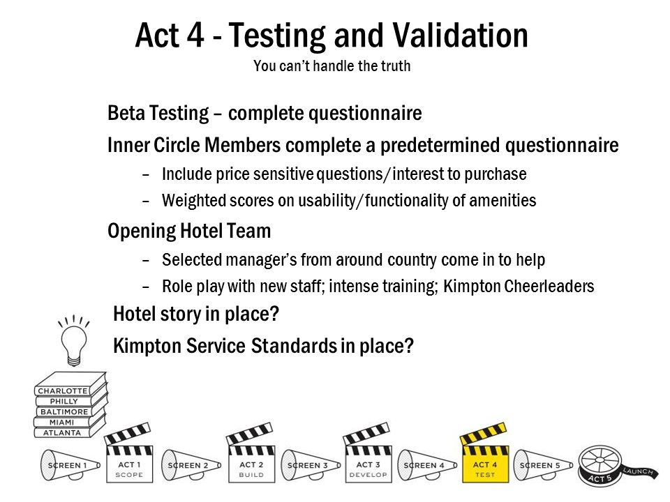 Act 4 - Testing and Validation You cant handle the truth Beta Testing – complete questionnaire Inner Circle Members complete a predetermined questionn