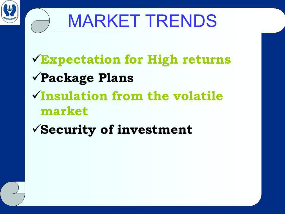 MARKET TRENDS Expectation for High returns Package Plans Insulation from the volatile market Security of investment