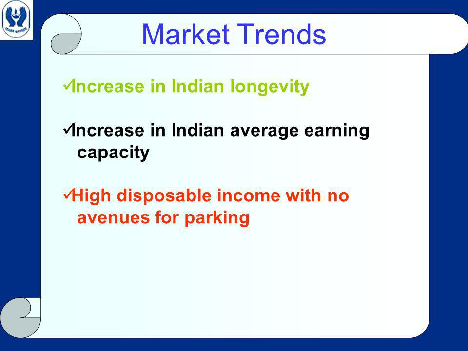 Market Trends Increase in Indian longevity Increase in Indian average earning capacity High disposable income with no avenues for parking