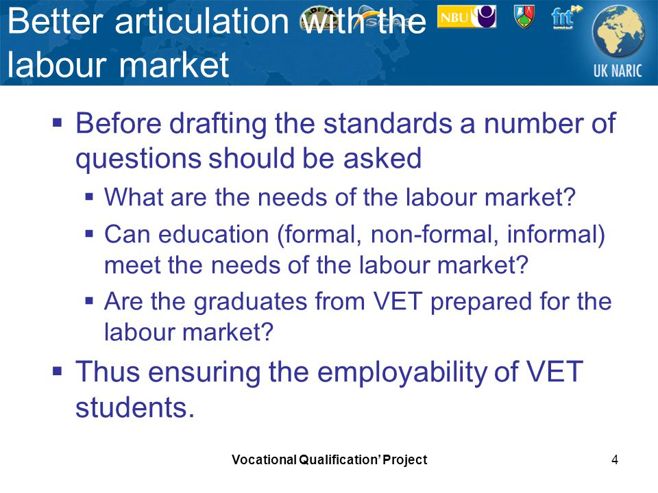 Vocational Qualification Project4 Better articulation with the labour market Before drafting the standards a number of questions should be asked What