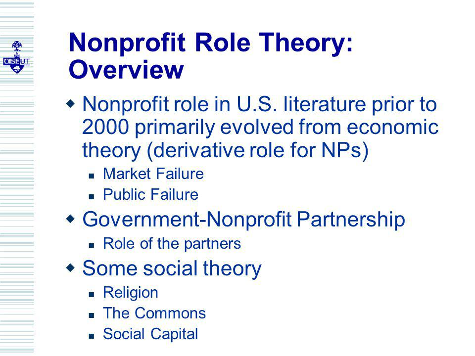 Nonprofit Role Theory: Overview Nonprofit role in U.S.