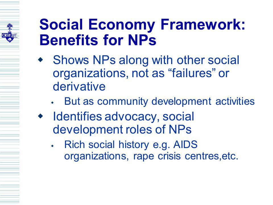Social Economy Framework: Benefits for NPs Shows NPs along with other social organizations, not as failures or derivative But as community development activities Identifies advocacy, social development roles of NPs Rich social history e.g.