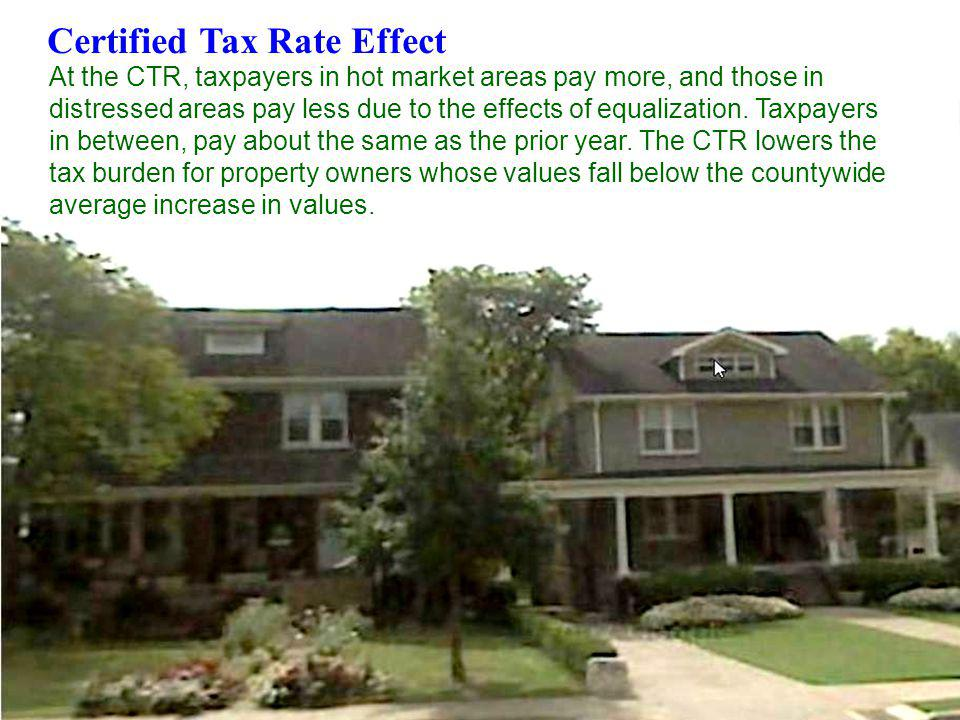 5 Certified Tax Rate Effect At the CTR, taxpayers in hot market areas pay more, and those in distressed areas pay less due to the effects of equalizat