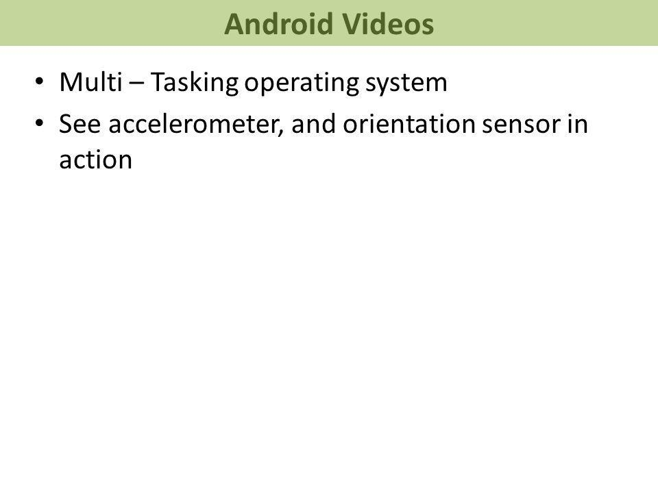 Android Videos Multi – Tasking operating system See accelerometer, and orientation sensor in action