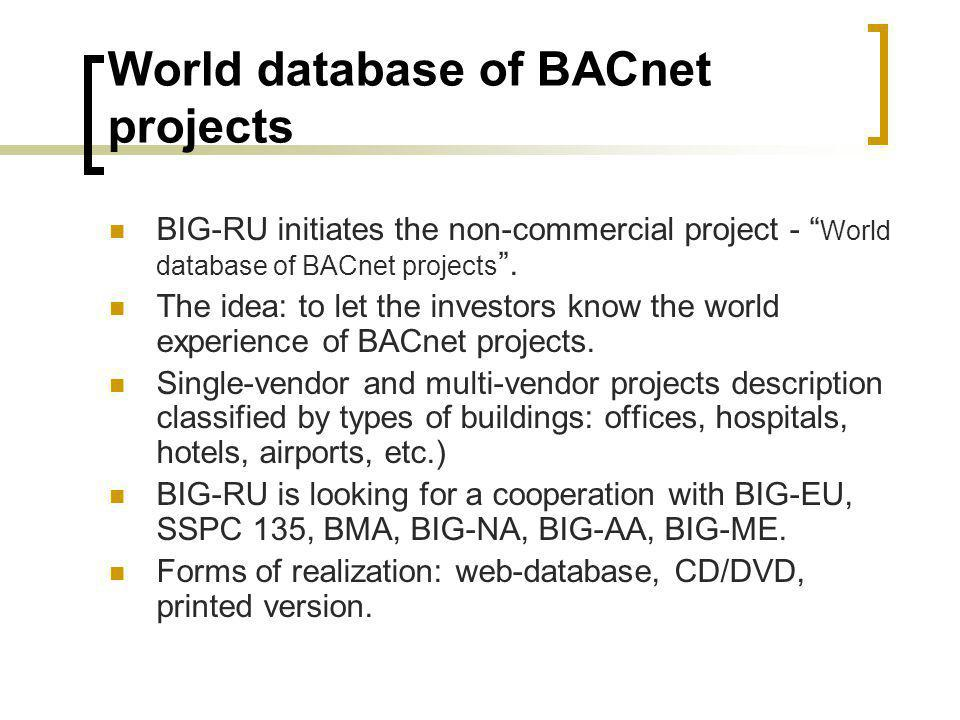 World database of BACnet projects BIG-RU initiates the non-commercial project - World database of BACnet projects.