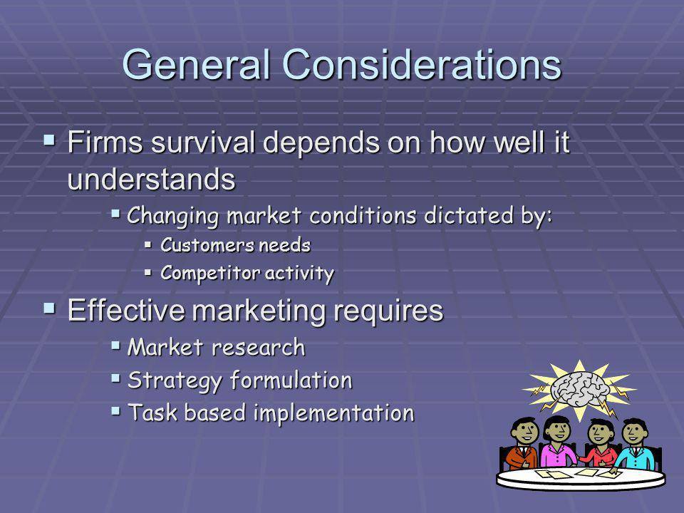General Considerations Firms survival depends on how well it understands Firms survival depends on how well it understands Changing market conditions