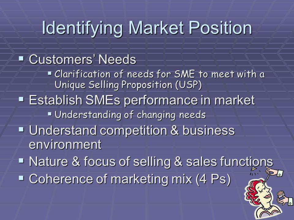 Identifying Market Position Customers Needs Customers Needs Clarification of needs for SME to meet with a Unique Selling Proposition (USP) Clarificati