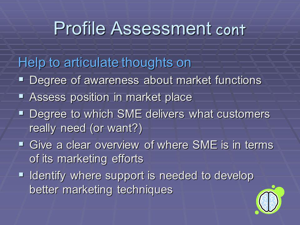 Profile Assessment cont Help to articulate thoughts on Degree of awareness about market functions Degree of awareness about market functions Assess position in market place Assess position in market place Degree to which SME delivers what customers really need (or want?) Degree to which SME delivers what customers really need (or want?) Give a clear overview of where SME is in terms of its marketing efforts Give a clear overview of where SME is in terms of its marketing efforts Identify where support is needed to develop better marketing techniques Identify where support is needed to develop better marketing techniques