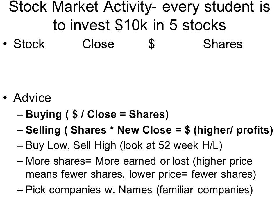 Stock Market Activity- every student is to invest $10k in 5 stocks Stock Close $ Shares Advice –Buying ( $ / Close = Shares) –Selling ( Shares * New C