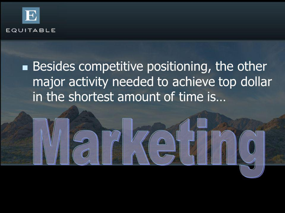 Besides competitive positioning, the other major activity needed to achieve top dollar in the shortest amount of time is…