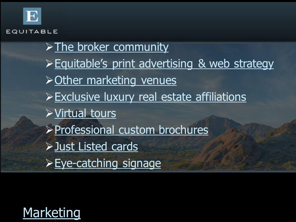 The broker community Equitables print advertising & web strategy Other marketing venues Exclusive luxury real estate affiliations Virtual tours Profes