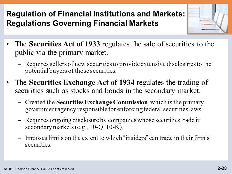 © 2012 Pearson Prentice Hall. All rights reserved. 2-28 Regulation of Financial Institutions and Markets: Regulations Governing Financial Markets The