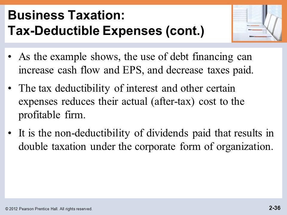 © 2012 Pearson Prentice Hall. All rights reserved. 2-36 Business Taxation: Tax-Deductible Expenses (cont.) As the example shows, the use of debt finan