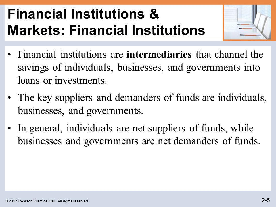 © 2012 Pearson Prentice Hall. All rights reserved. 2-5 Financial Institutions & Markets: Financial Institutions Financial institutions are intermediar