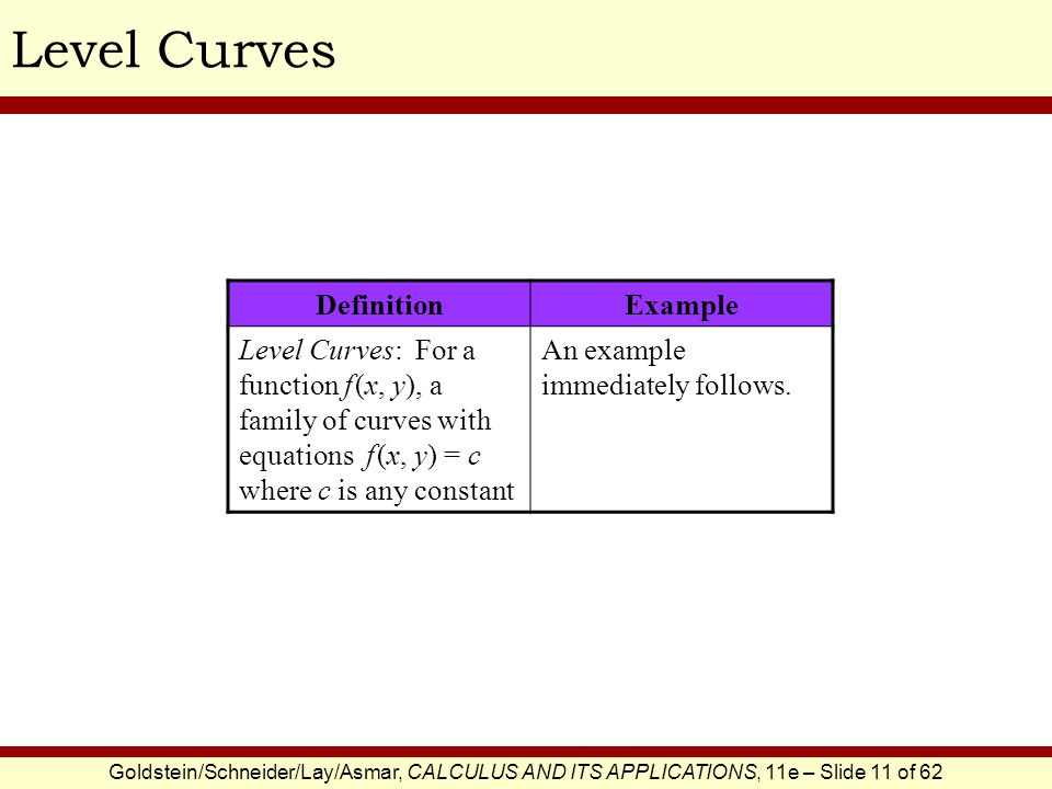 Goldstein/Schneider/Lay/Asmar, CALCULUS AND ITS APPLICATIONS, 11e – Slide 11 of 62 Level Curves DefinitionExample Level Curves: For a function f (x, y), a family of curves with equations f (x, y) = c where c is any constant An example immediately follows.