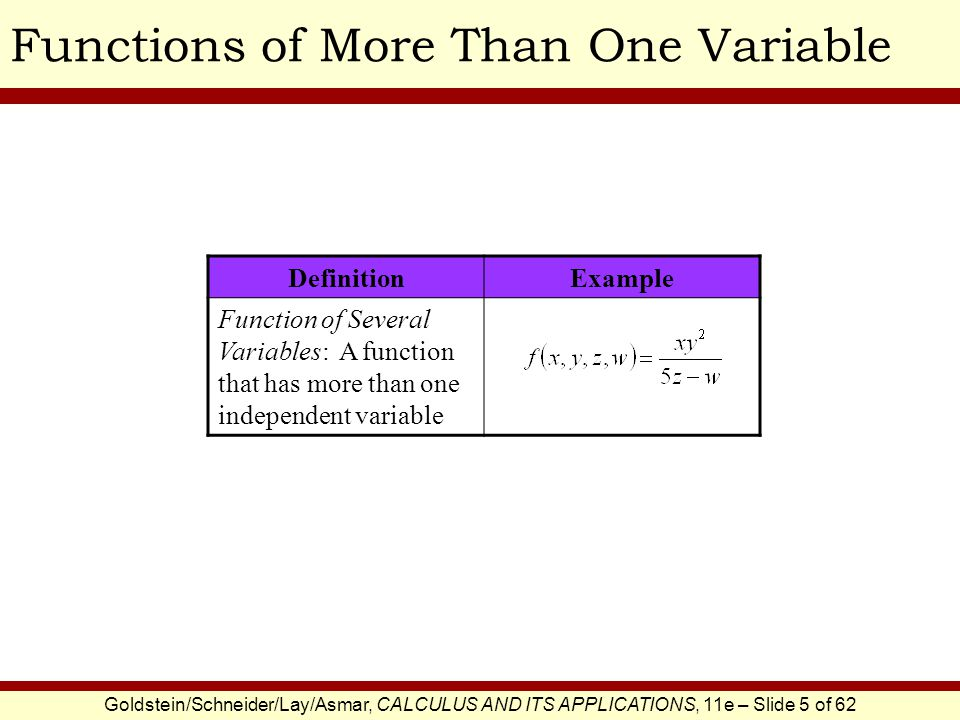 Goldstein/Schneider/Lay/Asmar, CALCULUS AND ITS APPLICATIONS, 11e – Slide 5 of 62 Functions of More Than One Variable DefinitionExample Function of Several Variables: A function that has more than one independent variable