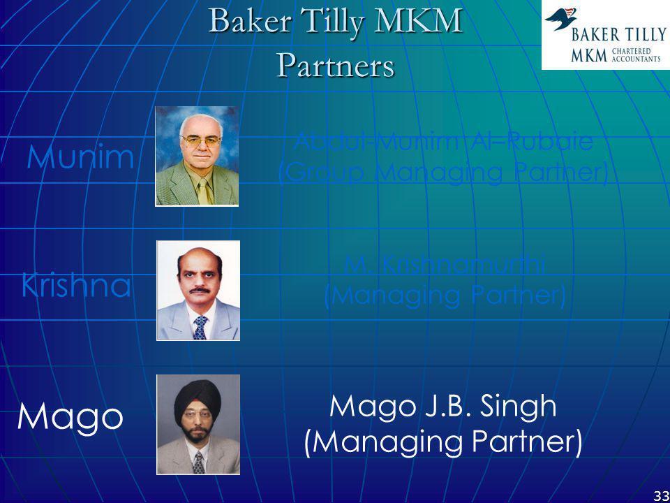 33 Baker Tilly MKM Partners M. Krishnamurthi (Managing Partner) Mago J.B.