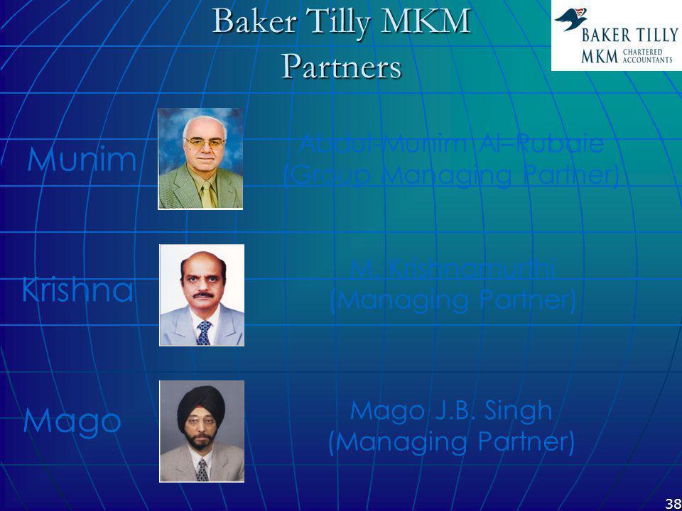 38 Baker Tilly MKM Partners M. Krishnamurthi (Managing Partner) Mago J.B.